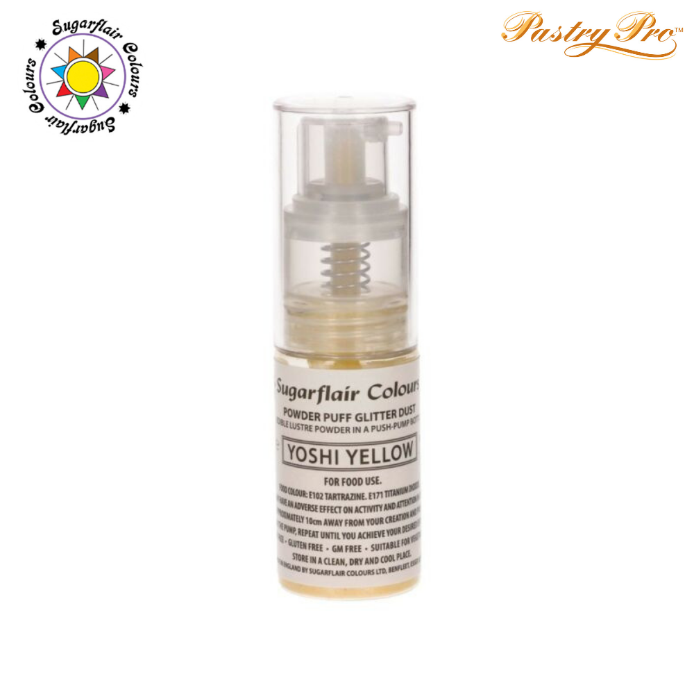 Sugarflair, Pump Spray Glitter Dust Powder, Yoshi Yellow