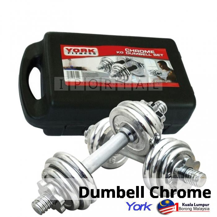 York Chrome Dumbbell Set 15kg: Chrome Dumbell & Barbell Weight Lifting Set 10KG 15KG 20KG