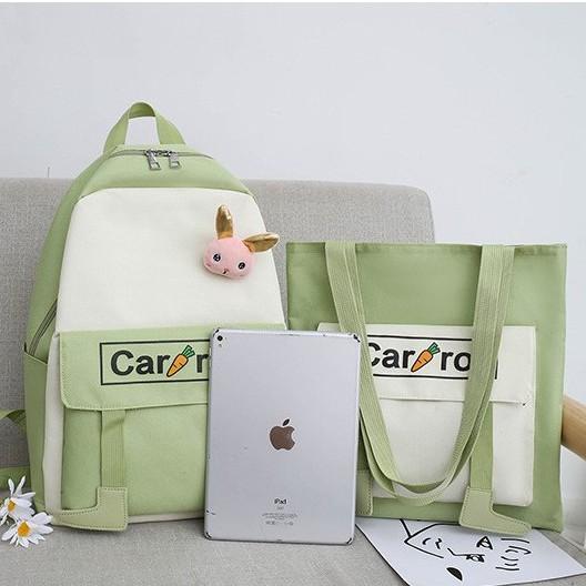 Backpack Girl Rabbit Carrot 4 In One Sets Perempuan Beg 背包可爱兔子萝卜 4件套BP0008