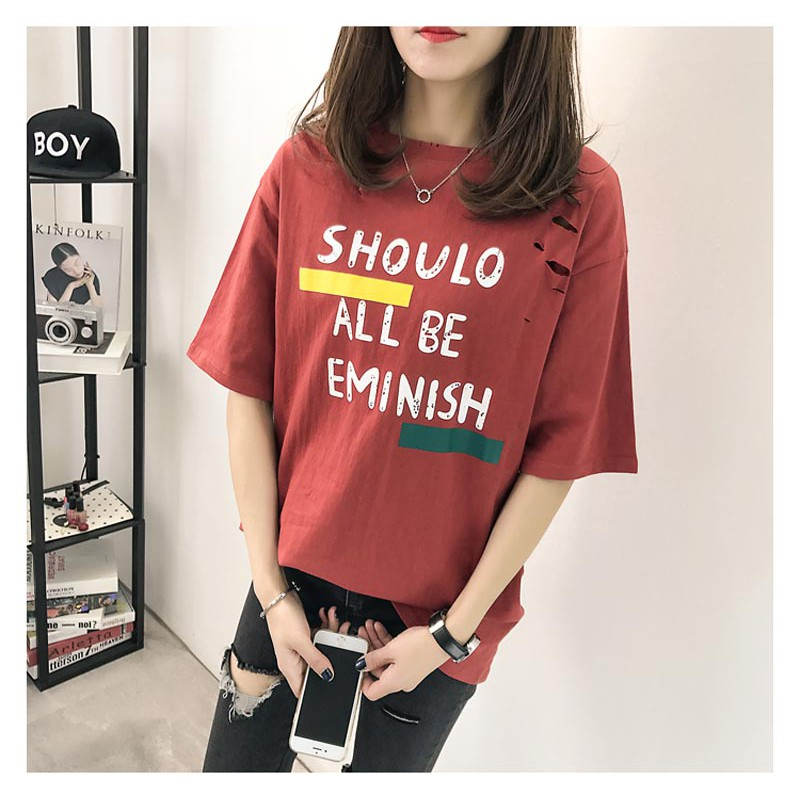 117cba105614 ProductImage. ProductImage. 100KG can wear plus size T-shirt Shredded  fashion Korean printing tops ...