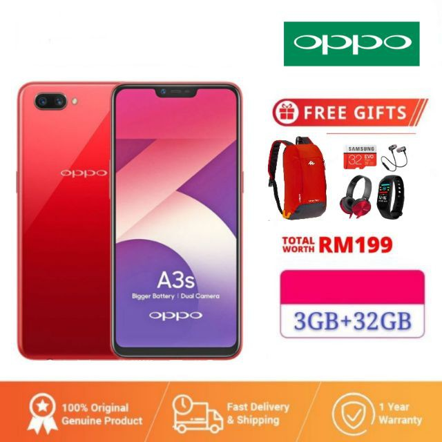 [Ready Stock]OPPO A3s[3GB RM+32GB]