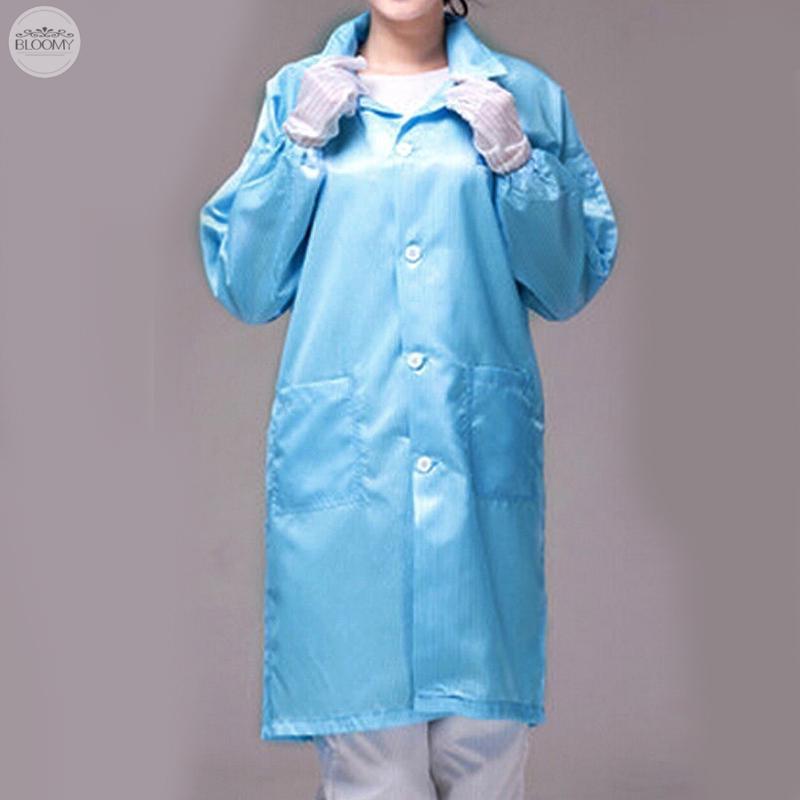 Button Pocket Unisex Women Men ESD-Safe Anti-static LAB Smock Coat Jacket  Pink #