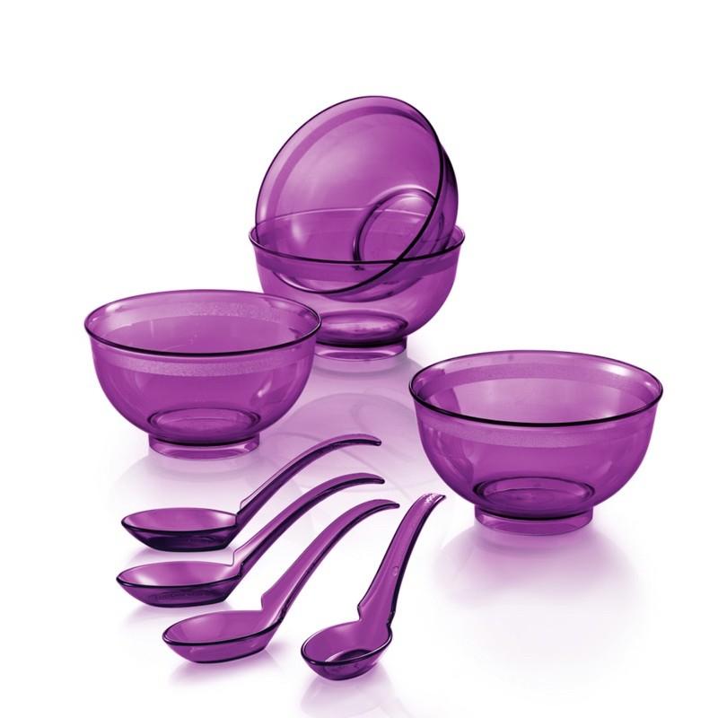 Tupperware Purple Crystalline bowl & spoon