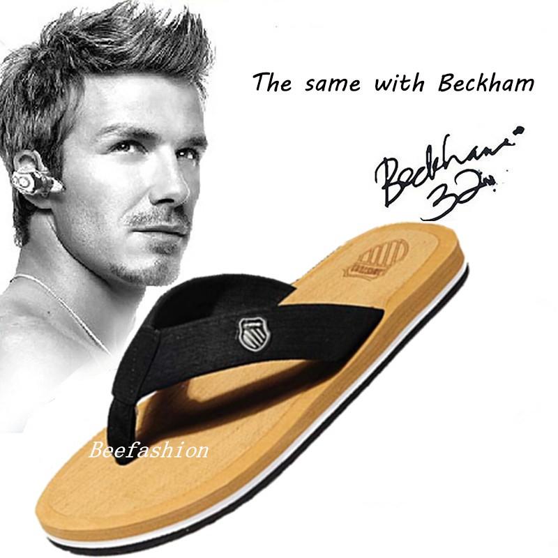 7ab8dc1b370e Flip Flops Beach Men David Beckham Fashion Casual Summer Slippers Light  Sandals