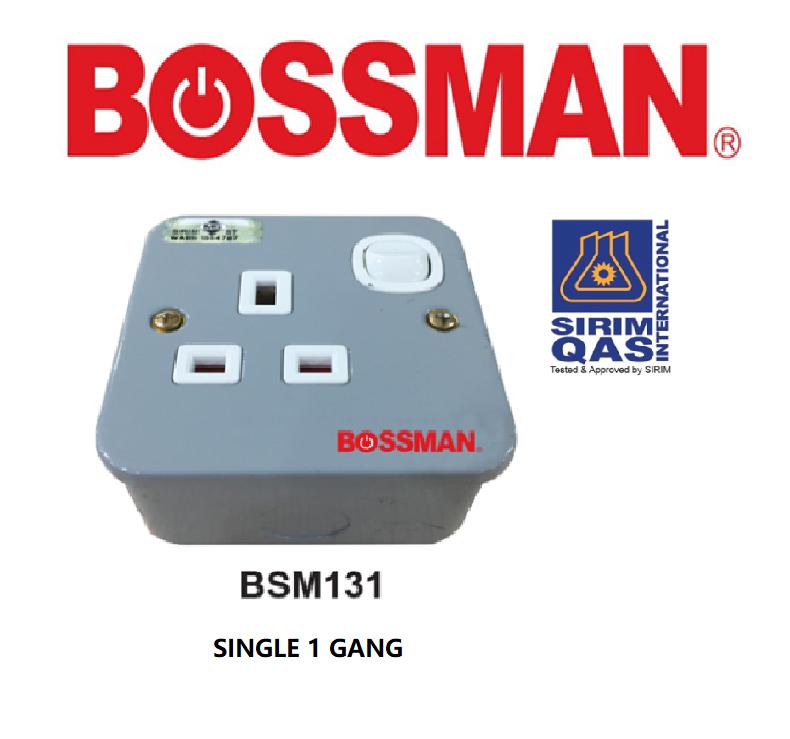 BOSSMAN INDUSTRIAL SWITCH SOCKET 13 Amp SINGLE/DOUBLE GANG SOCKET (SIRIM) 13A METAL