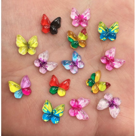 Small Girls Glitter Epoxy Butterfly Sleepies Hair Clips 471