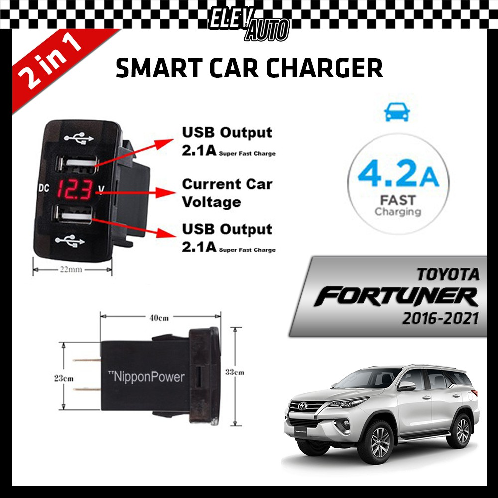 DUAL USB Built-In Smart Car Charger with Voltage Display Toyota Fortuner 2016-2021