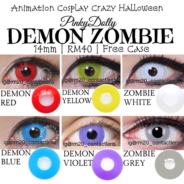 d02b89d8b635 PINKY   Demon Zombie animation Cosplay Crazy Soft Contact Lens ...