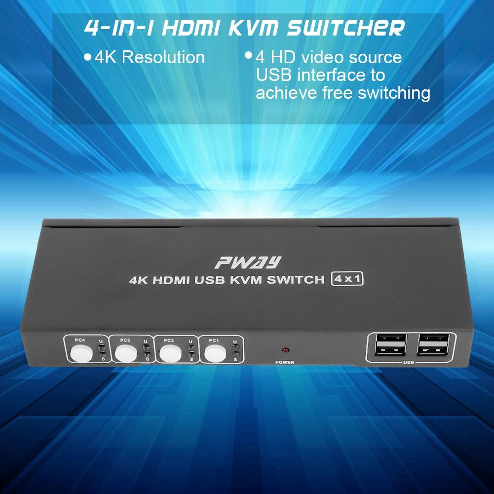 HDMI Switcher 4 Ports HDMI KVM 2X1 Switch 4K@30Hz Switcher