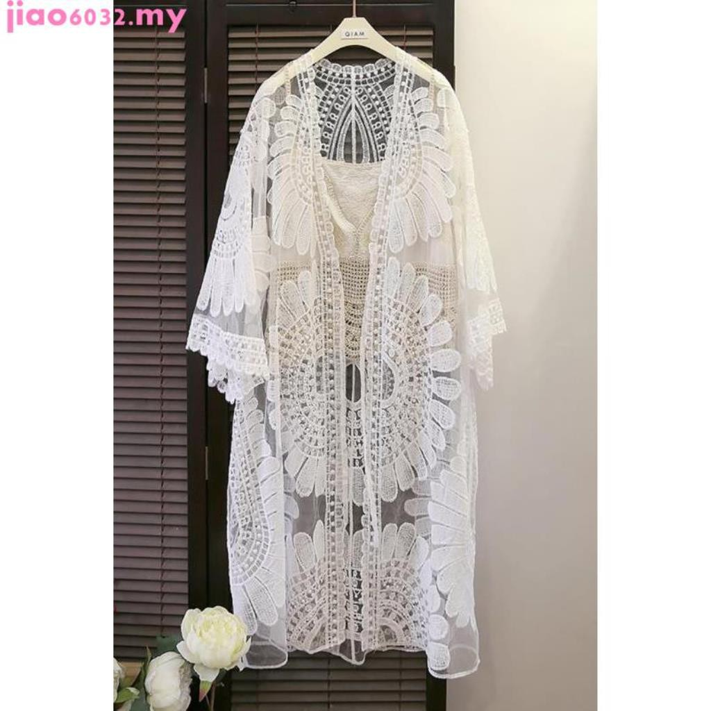 ♀jiao6032Star Floral Embroidery Long Kimono Cover Ups White Lace Cardigan Women Holiday Beach Style Long Shirt