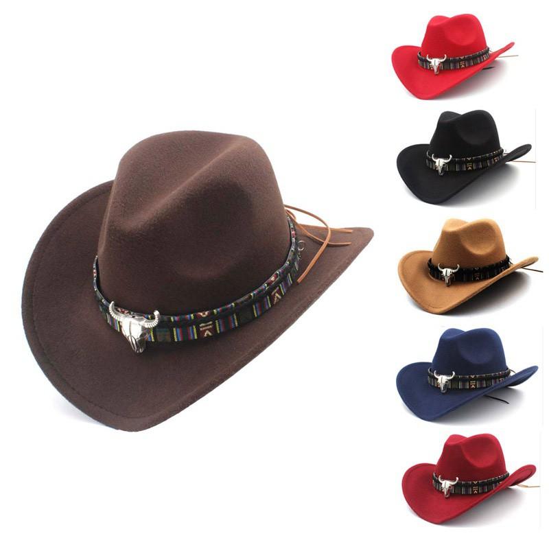 14701c29e Style Western Cowboy Hat Women's Wool Hat Jazz Hat Western Cowboy Hat