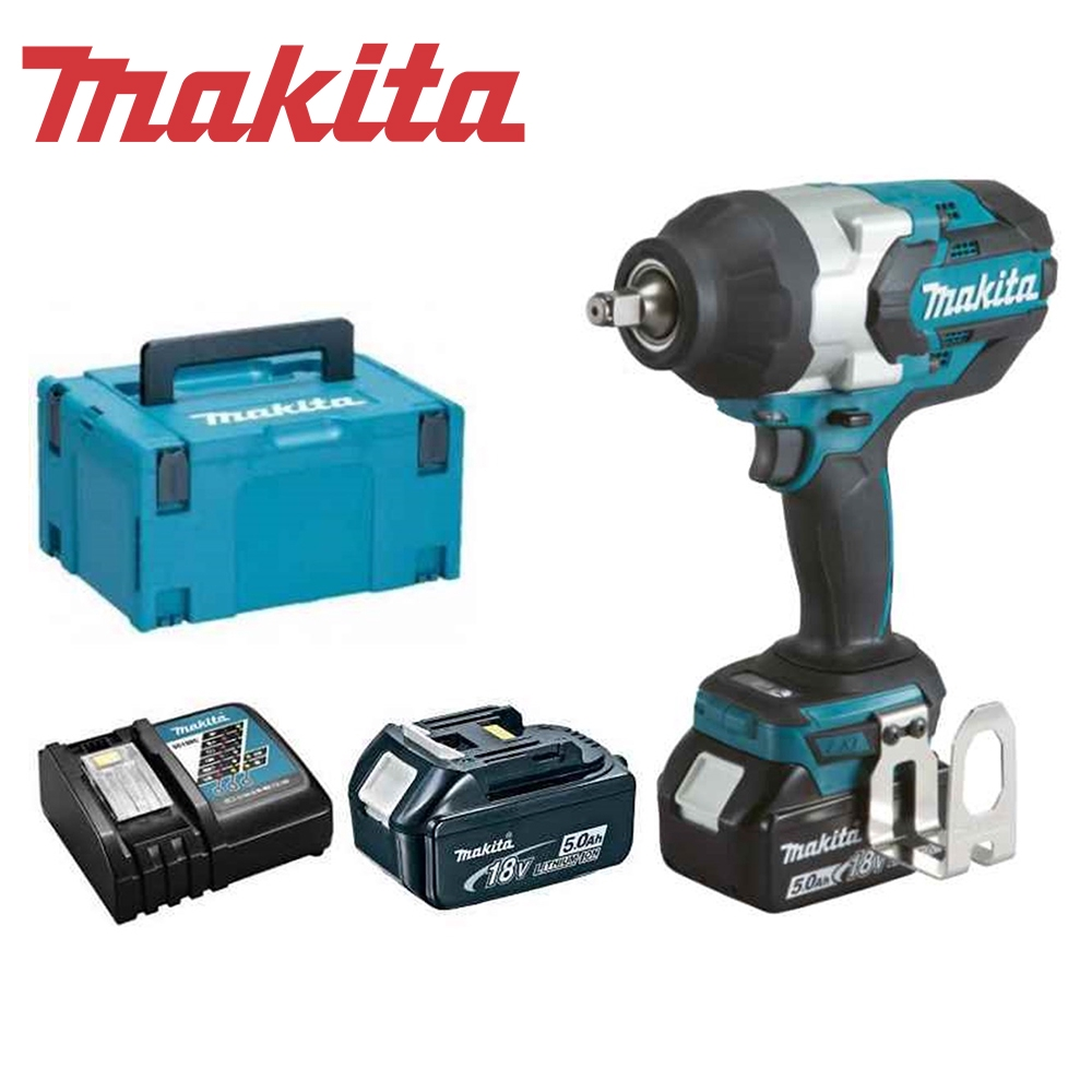 Charger 2 x 5Ah Batteries Makita DTW1002 18V BL Impact Wrench Case /& Inlay