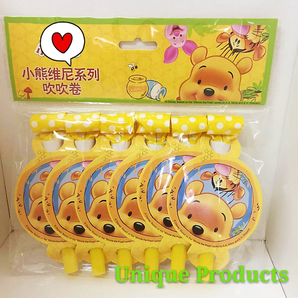 Ready Stock - 6pcs Winnie The Pooh Party Whistle Party Blowout