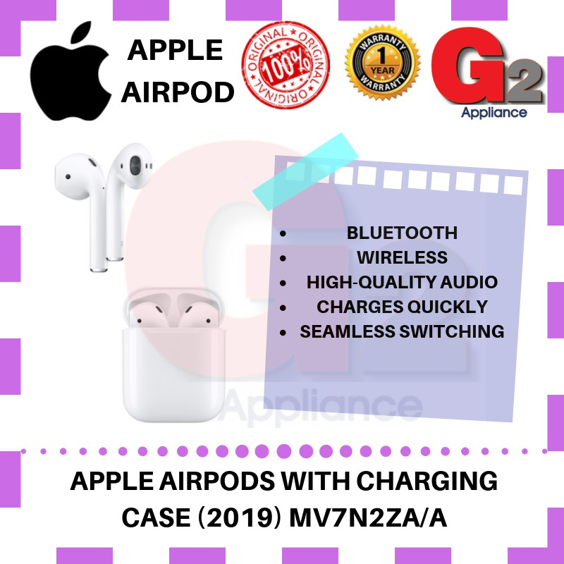 Apple (100%Original Apple Malaysia Warranty) AIRPODS 2 with Charging Case-MV7N2ZA/A (New 2019)
