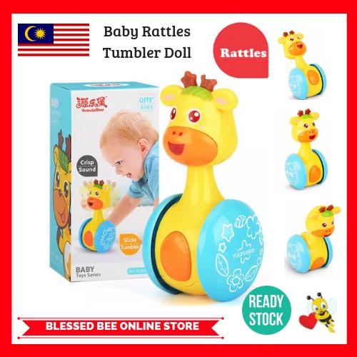 Cartoon Giraffe Tumbler Doll Baby Toy Funny Rattles Ring Bell Kid Gift 6A
