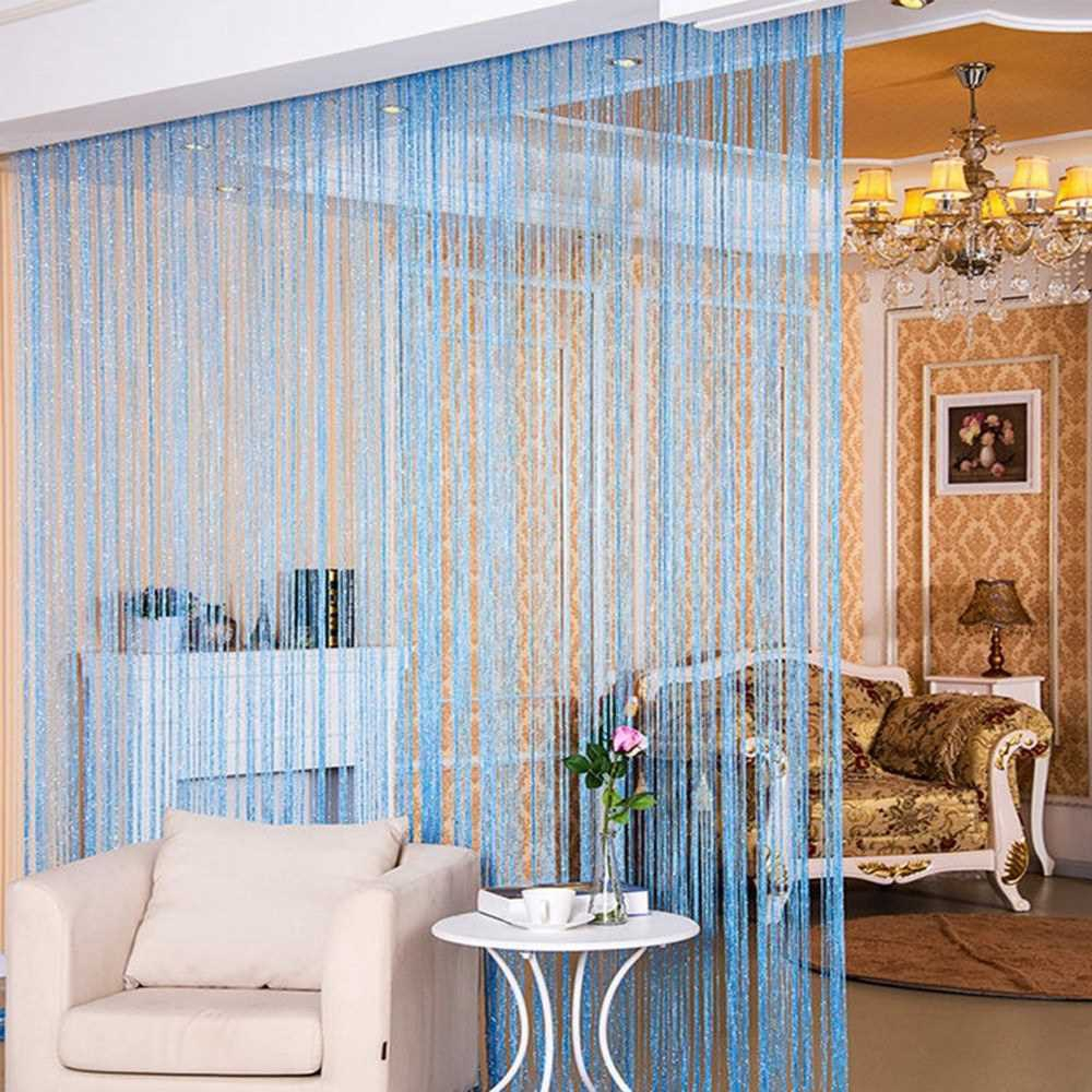 Fly Screen Fringe Tassel String Curtain Room Divider Window Decoration Vertical Door Curtain (Blue)
