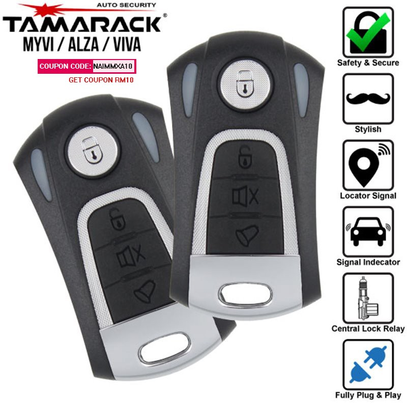 [FREE Gift] PERODUA MYVI VIVA ALZA KELISA KENARI KANCIL TAMARACK USA Auto Security Fully Plug and Play Car Alarm System