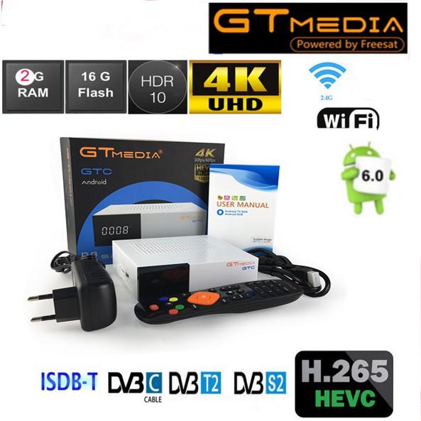 GTMEDIA GTC Android+DVB-S//S2 DVB+T//T2//Cable//ISDBT Amlogic S905D 2G 16G TV Box