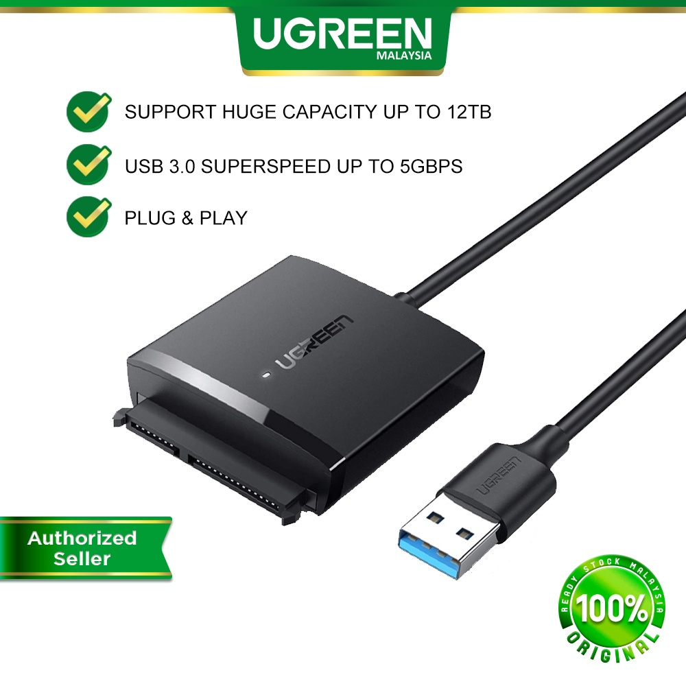 UGREEN SATA to USB 3.0 Adapter Hard Drive Cable External Disk Reader  Connector 12TB Crucial WD Seagate Toshiba