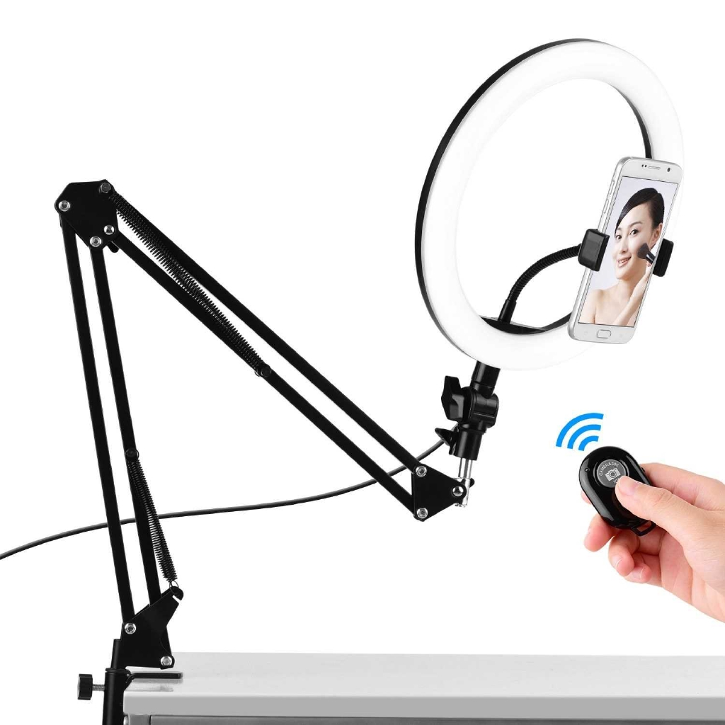 26cm/10inch LED Ring Light Photography Lamp Dimmable 3 Lighting Modes USB Powered with Flexible Light Stand Phone Holde