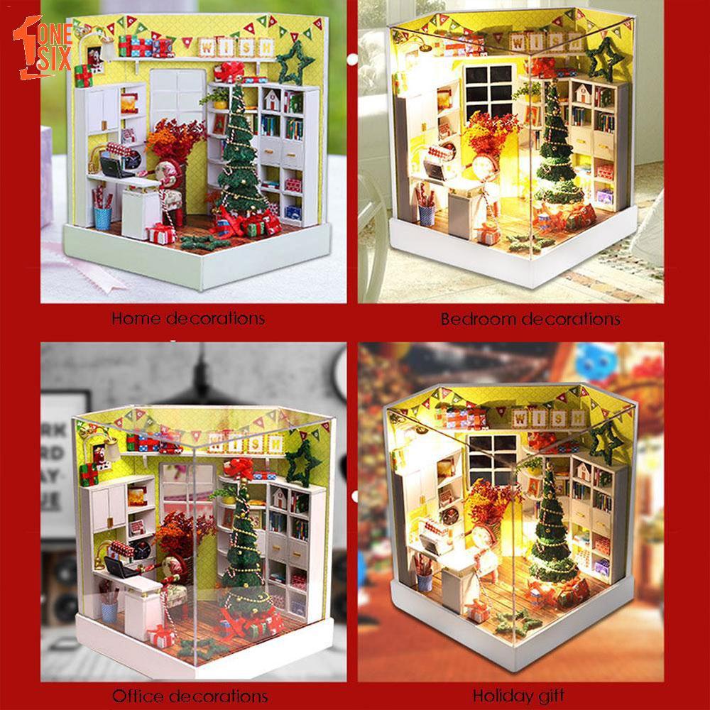 Christmas Dollhouse Decorations.Mini Doll House Diy Christmas House With Led Glass Christmas Educational