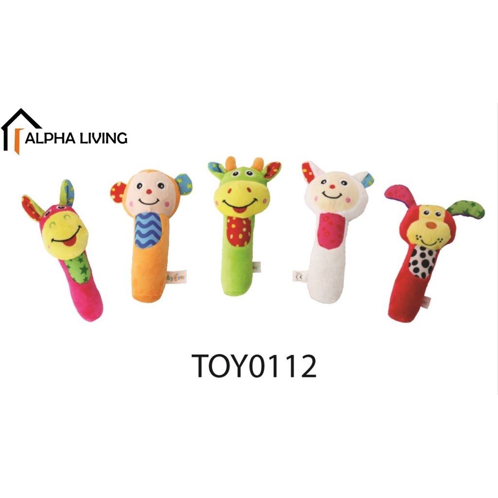 Cartoon Stuffed Animal Baby Soft Plush Hand Rattle Squeaker Sticks for Toddlers (TOY0112)