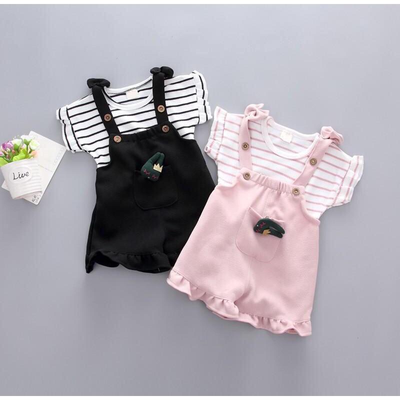Dinlong Toddler Newborn Baby Girls Clothes Party Dress Sleeveless Big Bow Strap Fruit Striped Print Princess
