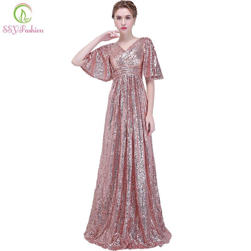 4169c3e0b8d72 New Fashion Evening Dress Women's Simple Rose Gold Sequin Sexy Prom Party  Gown