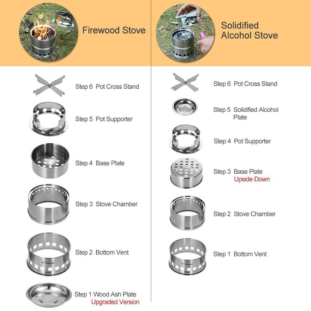 TOMSHOO Upgrade Camping Stove & Backpacking Stove with Wood Ash Plate & Foldable Handle , Portable Folding Windproof Wo