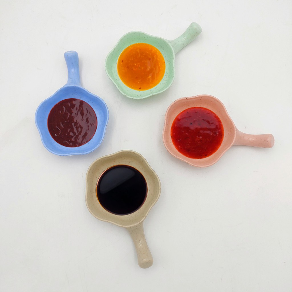 Small Dipping Sauce Serving Dishes Colorful Dish Mini With Handle Grip for Soy Sauce, Ketchup