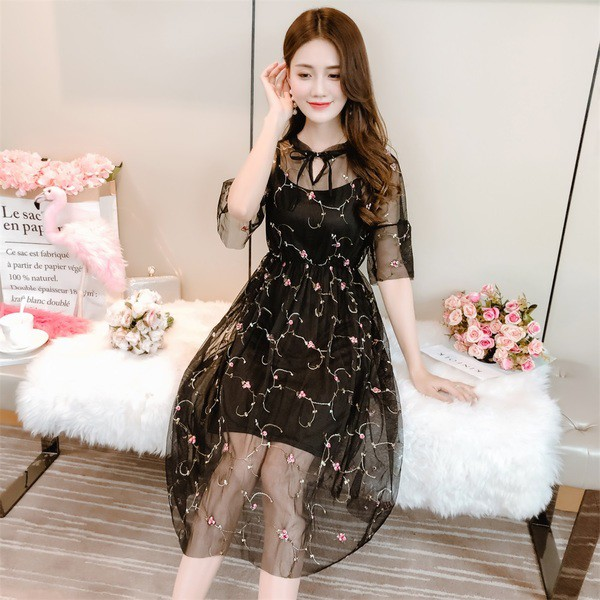 d91399a80188d HOT Fashion suit dress 2019 new summer sweet small flowers big swing mesh  pleated long skirt fairy