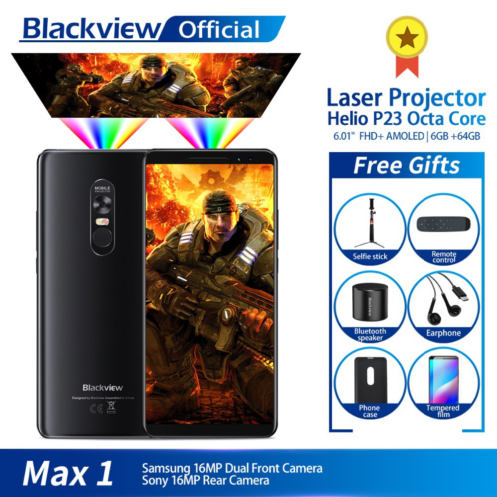 Blackview MAX 1 Projector Mobile Phone AMOLED 4680mAh Android 8 1 Mini  Projector