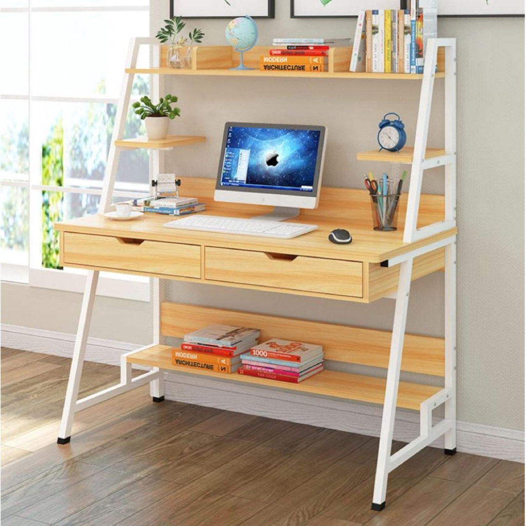 Image of: Modern Study Table With Hidden Book Shelves Double Drawers Built Up 5 Compartments Shelves Light Brown Shopee Malaysia