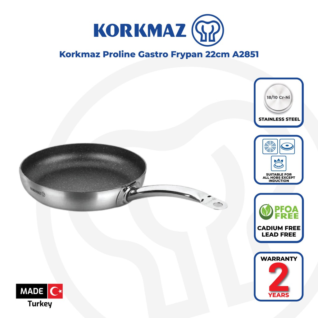Korkmaz Proline 18/10 Stainless Steel Gastro Frypan (Induction compatible)