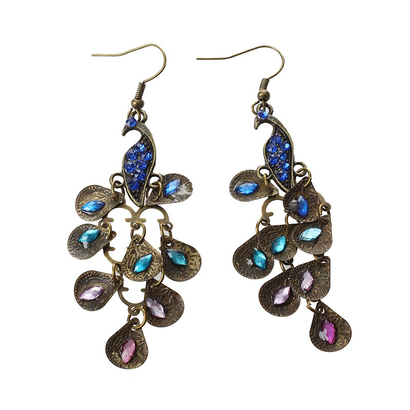 a1a6205a636c25 New Lady Vintage Retro Blue the Prancing Peacock Earrings | Shopee Malaysia