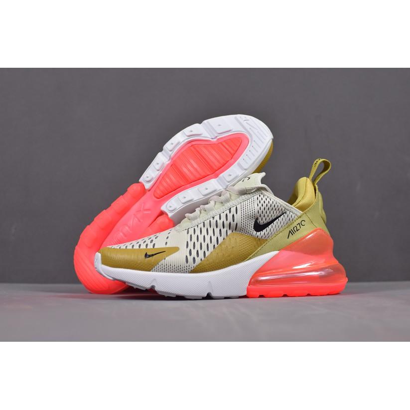 Nike Women's Air Max 270 Breathable Running Shoes WhiteGoldOrange
