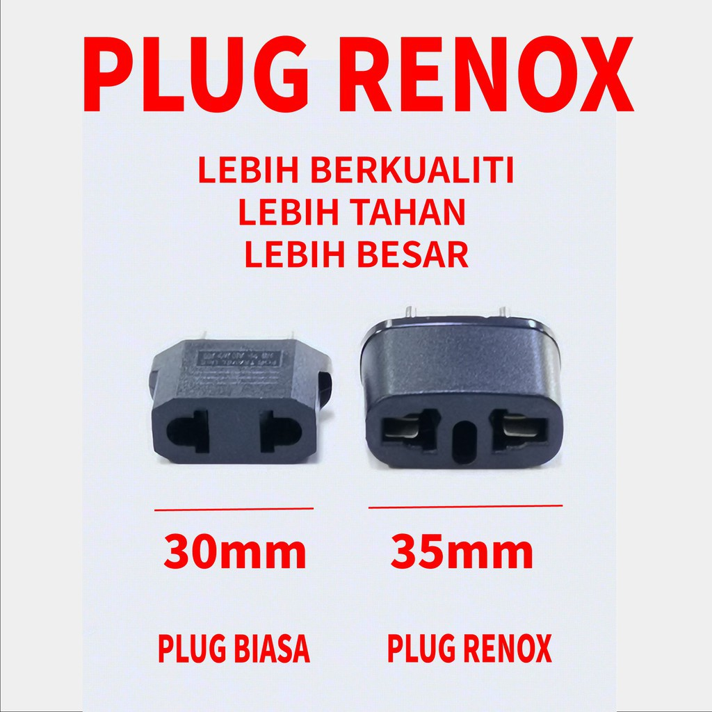 (PREMIUM) RENOX 2 Pin Plug - EU 2-pin Adaptor Malaysia Direct plug-in conversion from China or US