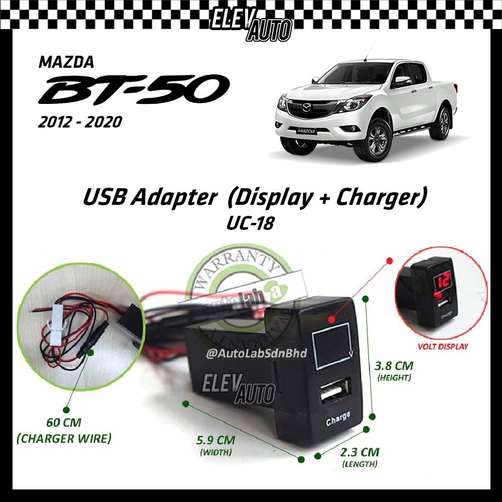 Mazda BT-50 BT50 2012-2021 USB Adaptor Volt Display + Charger (UC-18)