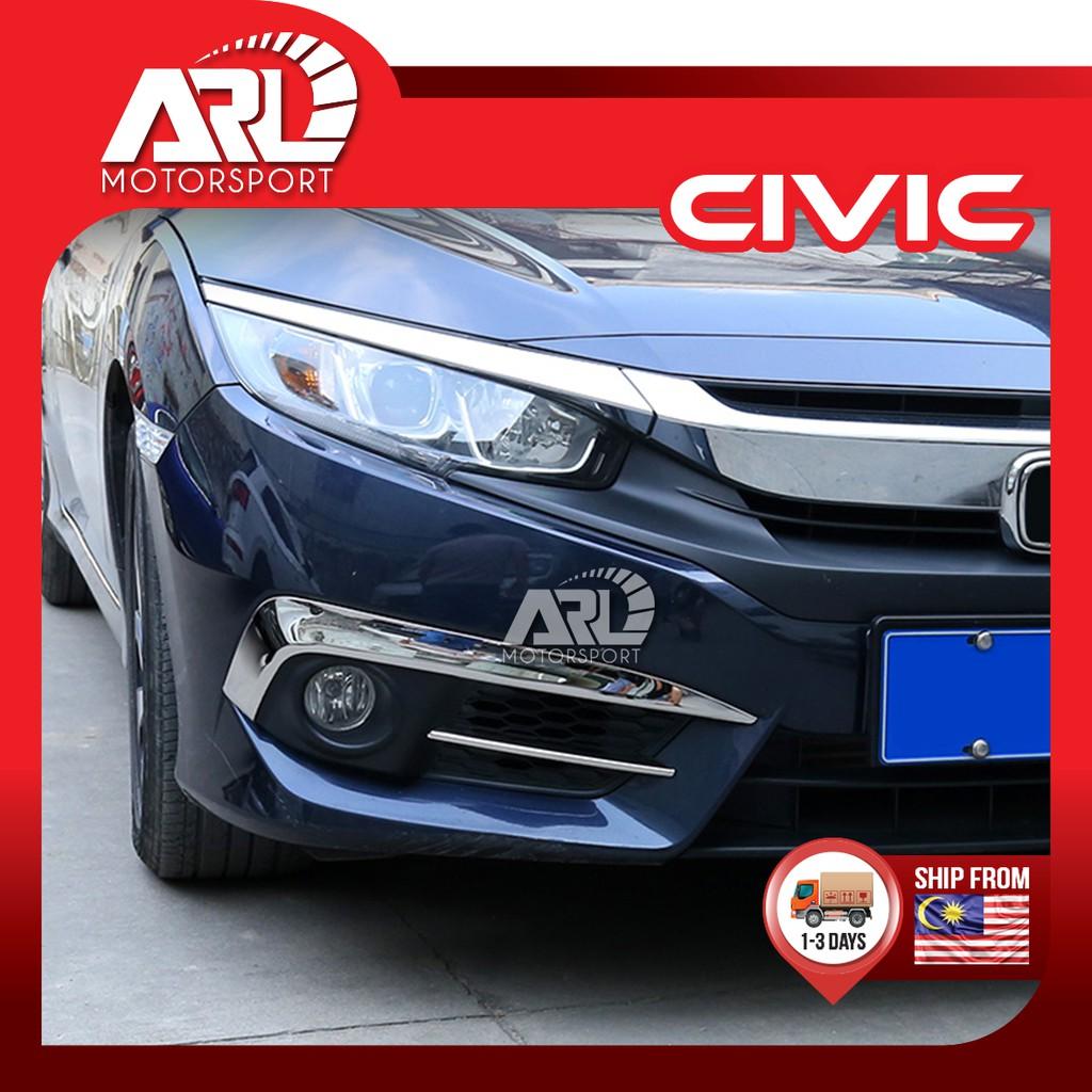 Honda Civic (2016-2020) Fog Light Lamp Chrome Lining Car Auto Acccessories ARL Motorsport