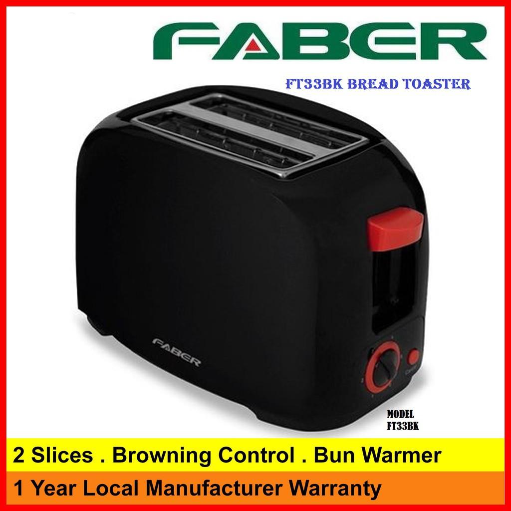 Faber Black Stylish Bread Toaster FT33BK (6 adjustable browning settings)