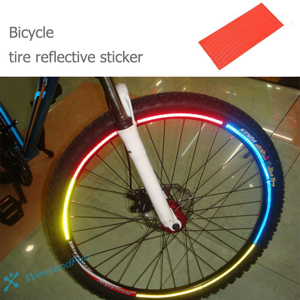 Bicycle Wheel Spoke Reflector Reflective Mount Clip Tube Warning Strip 12pcs ON
