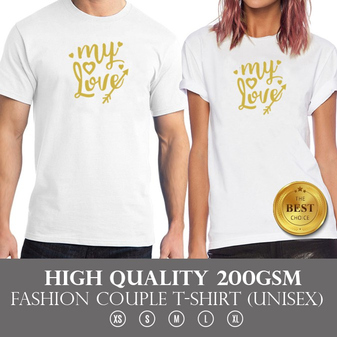 High Quality Couple White T Shirt My Love With Gold Color Limited Design Shopee Malaysia