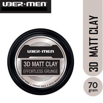 UBERMEN 3D Matt Clay Effortless Grunge / SPIKE WAX / POMADE POMPADOUR  / AIR JELLY / MESSY FUDGE 70g