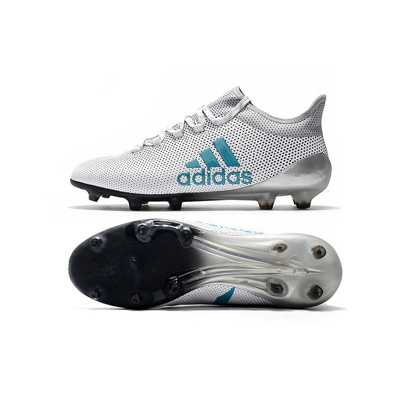 adidas X 17.1 FG TPU leather white silver blue mens soccer football shoes 39 45