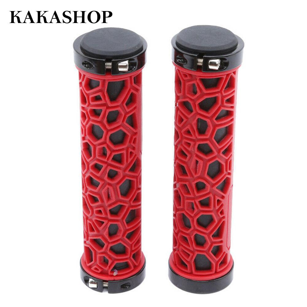 Bike Bicycle Double Lock On Handlebar Grips MTB Fixed Gear Soft Rubber Anti-skid