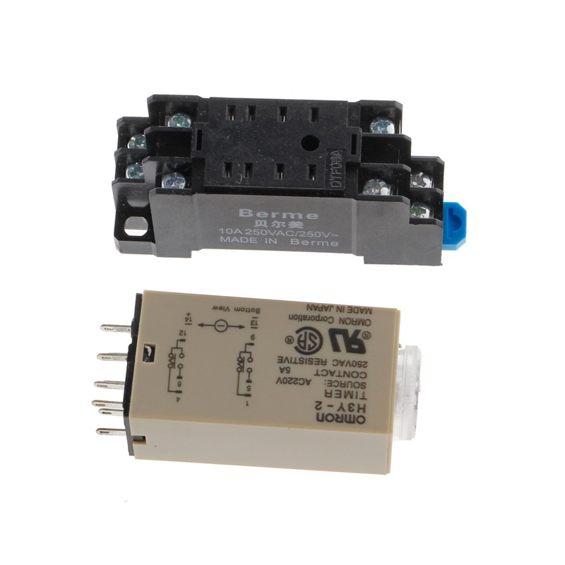 AC 220V H3Y-2 Power On Time Delay Relay Solid State Timer 1 0~30 Min Socket  Base
