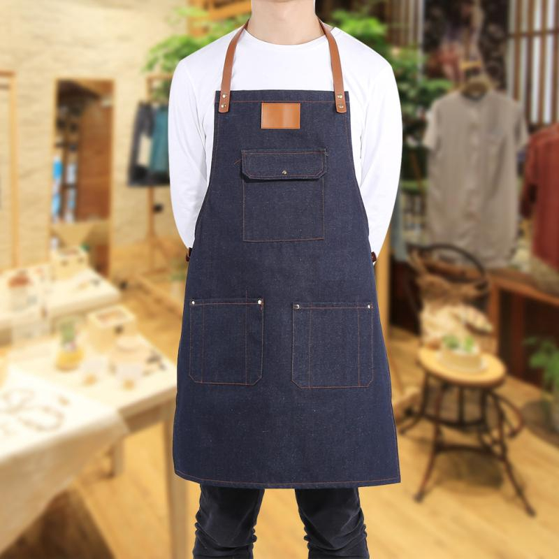 Blue Heavy Duty Denim Bib Apron Jean Kitchen Apron Adjustable Leather Strap for Baker Bartender BBQ Chef Work Cook Uniform