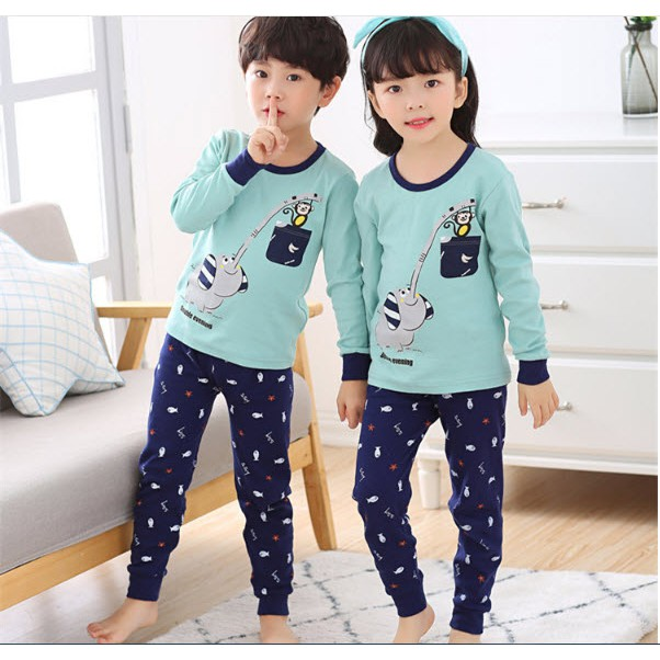 7692e8756 ProductImage. ProductImage. Sold Out. Children Kids Cute Cartoon Cotton  Elephant Sleepwear Baju Tidur Pyjamas Set