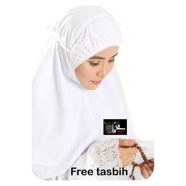 Telekung Aishah Suci Cotton Sulam Putih (Free Tasbih)