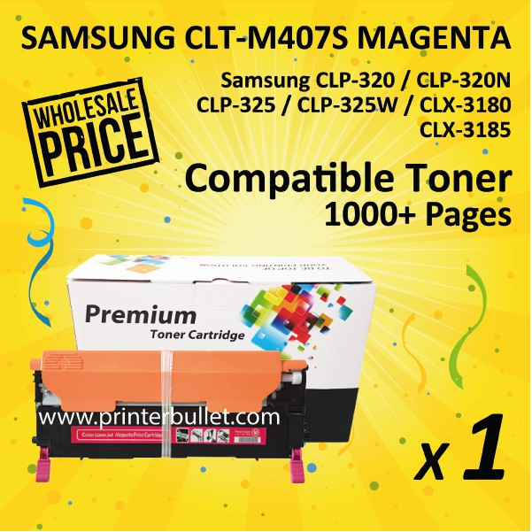 Compatible Samsung CLT-M407 Magenta Toner Cartridge